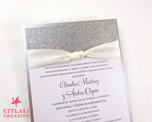 Tying the Knot Glitter Ribbon Wedding Invitations