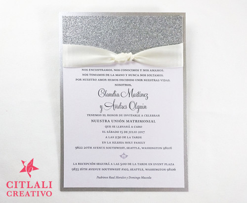 Tying the Knot Glitter Ribbon Wedding Invitations