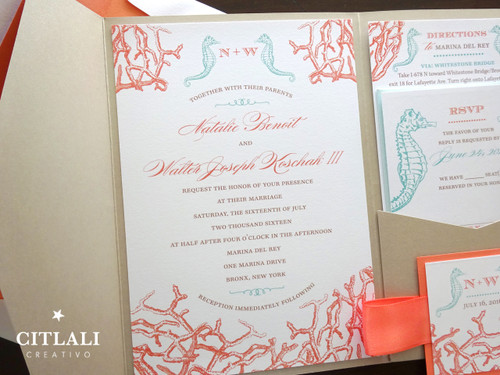 Coral Reef & Seahorses Pocket Wedding Invitations in Sand
