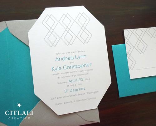 Teal & Grey Mid-century Modern Die-cut Wedding Invitations