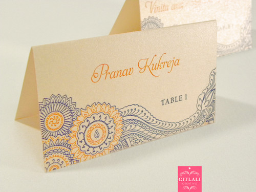 Two-tone Paisley Henna Tent Place Cards