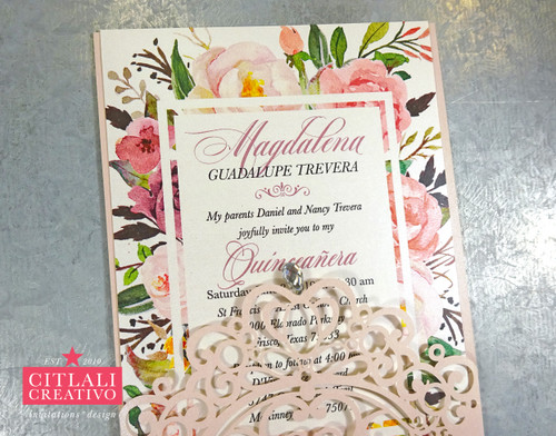 Watercolor Floral Frame Rhinestone Crown XV Laser Cut Invitations