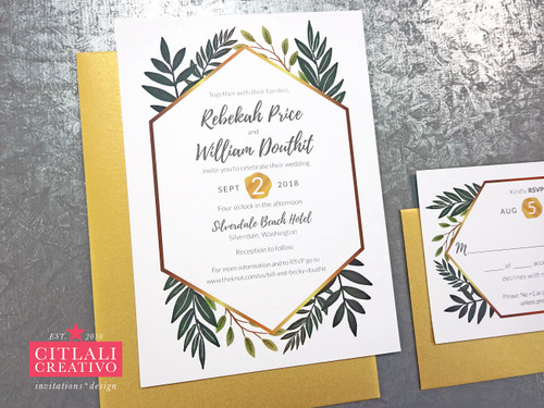 Botanical Greenery + Gold Geometric Border Wedding Invitations