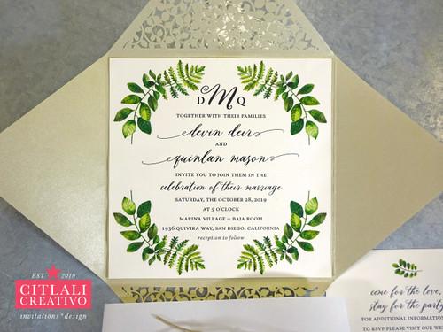 Fern Botanical Greenery Laser Cut Wedding Invitations
