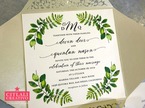 Fern Botanical Greenery Laser Cut Wedding Invitations