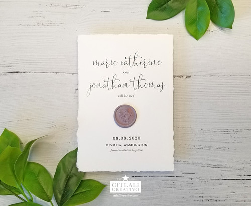 Deckled Edge Wax Seal Save the Date Card