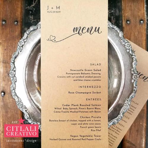 Minimal Kraft Typography Heart Wedding Menu Cards