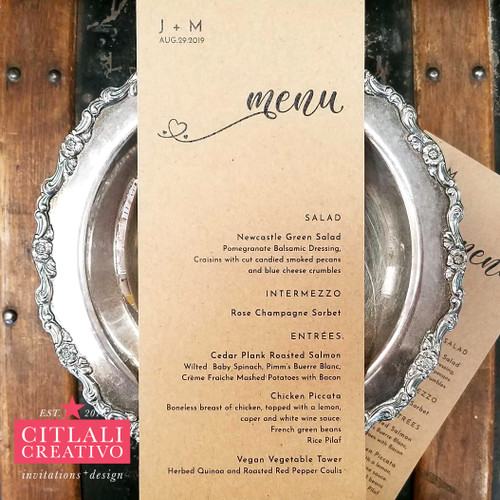 Minimal Kraft Typography Heart Wedding Menu Cards