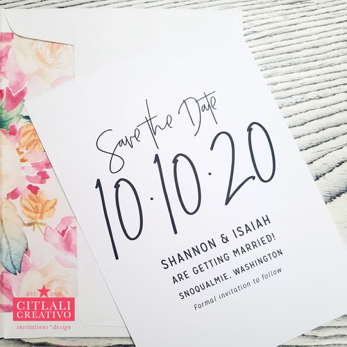 Minimal Wedding Save the Dates with Lined Watercolor Envelopes