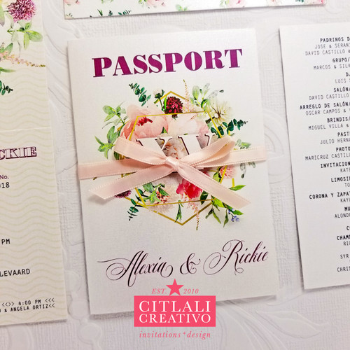 Quinceañera Birthday Blush Geometric Floral Passport Invitations