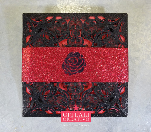 Sweet 16 Glitter & Roses Laser Cut Black Folder Invitations