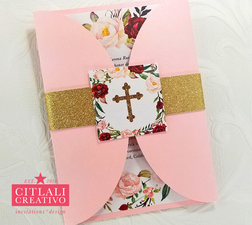 Watercolor Floral Wreath Religious Baptism Christening Invitations