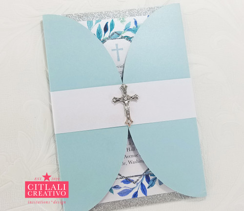 Floral Geometric Religious Baptism Christening Cross Invitations