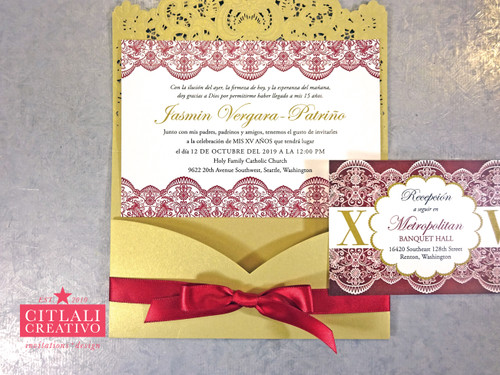 Lace Laser Cut XV Invitations