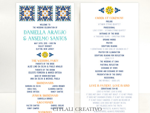 Talavera Spanish Tile Wedding Ceremony Program cards