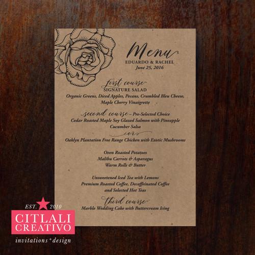 Kraft Rose Wedding Menu Cards