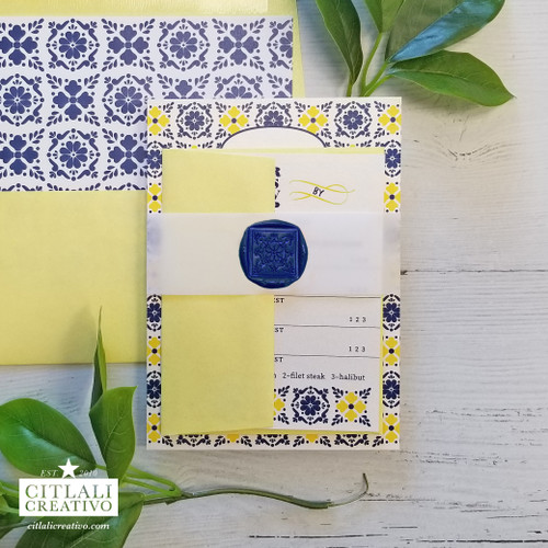 Spanish Tile Yellow & Blue Talavera Wedding Invitations