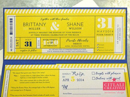 Ticket Folder Destination Wedding Invitations