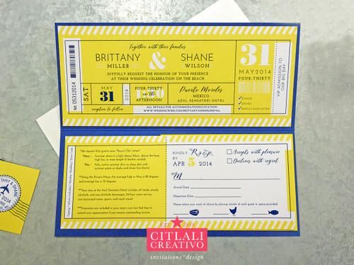 Ticket Folder Destination Wedding Invitations