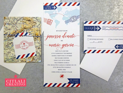 Air Mail Par Avion Destination Luggage Tag + Twine Wedding Invitations