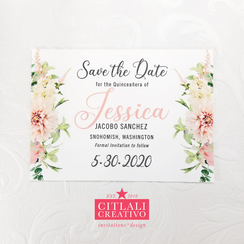 Pink Blush Floral Quinceañera Save the Dates
