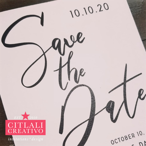 Minimal Modern Script Wedding Save the Dates