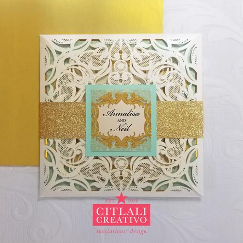 Mint & Gold Damask Laser Cut Filigree Wedding Invitations