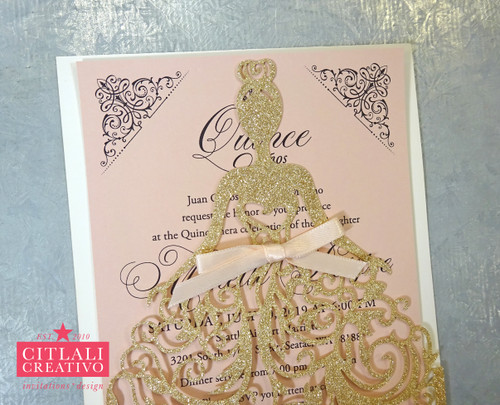 Champagne Gold Glitter & Blush XV Laser Cut Dress Girl Invitations