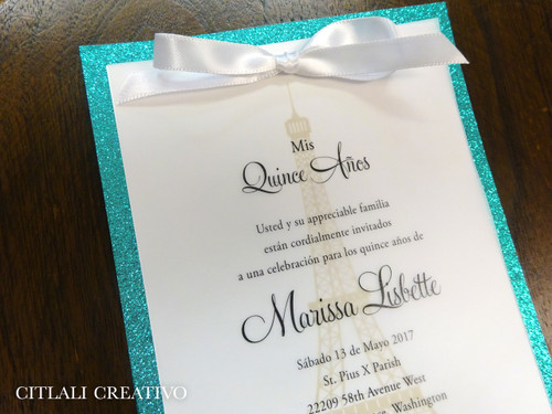 Fancy Glitter Eiffel Tower Quinceañera Birthday Invitations