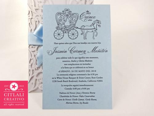 Fairytale Laser Cut + Ribbon & Pearl Brooch Quinceañera Invitations