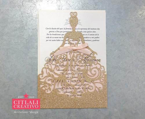 Champagne Gold Glitter Dress Princess XV Invitations