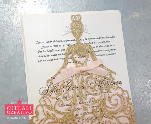 Champagne Gold Glitter Dress Princess XV Invitations