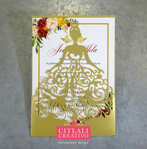 Princess Girl Dress Gold Laser Cut Invitations