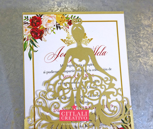Romantic Rhinestone Gold Lasercut Wedding Invitations