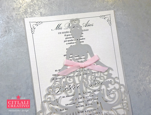 Fancy Dress Girl Laser Cut Quinceañera Invitations with Pink Bow