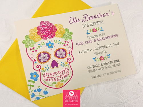 Floral Garden Fiesta Sugar Skull Birthday Party Invitations