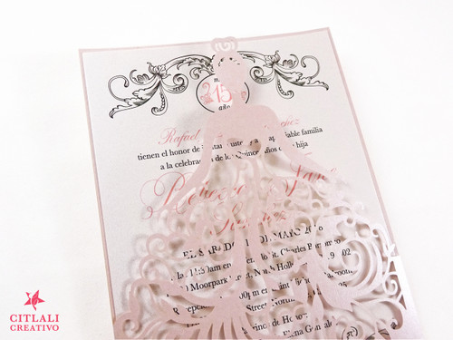Blush + Crown Filigree Elegant Dress Girl Laser cut Sweet 16 Invitations