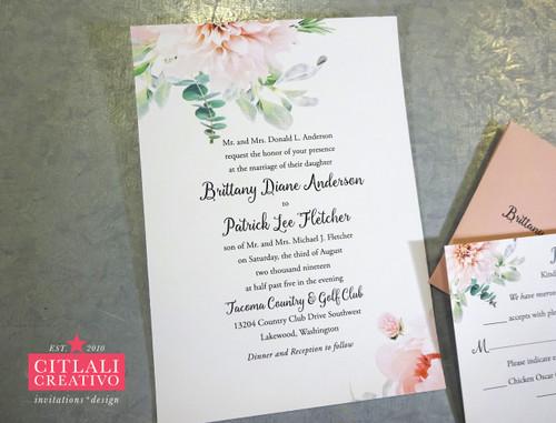 Dahlia Watercolor Floral Wedding Invitations