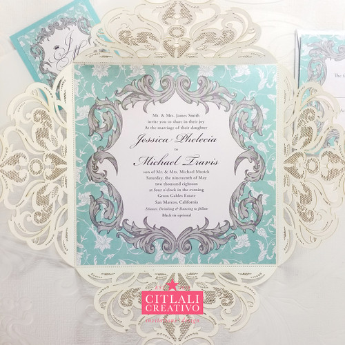 Elegant Silver Glitter Baroque Damask Laser Cut Wedding Invitations