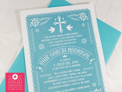 Mexican Papel Picado Baptism Bautizo Invitations
