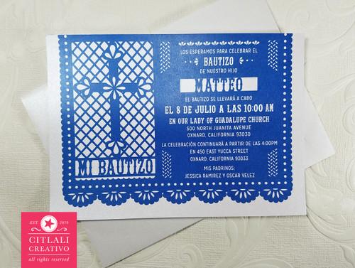 Papel Picado Cross Baptism Bautizo Invitations / Invitaciones