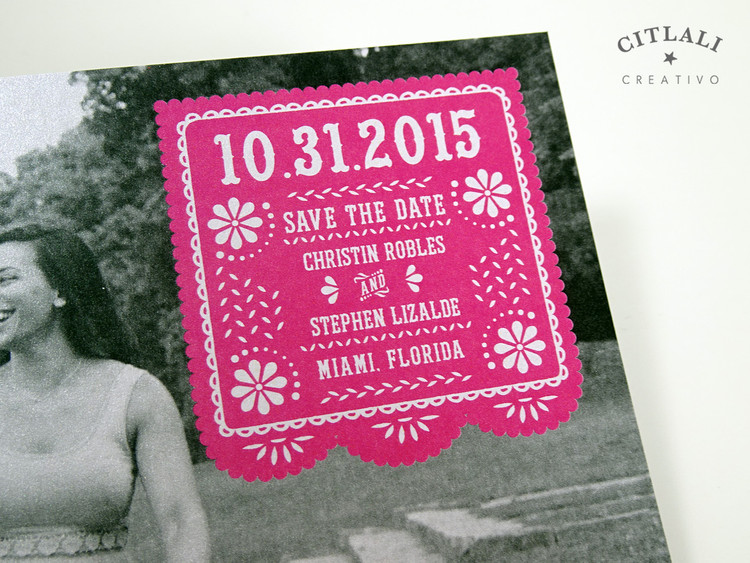 Photo Papel Picado Wedding Save the Dates