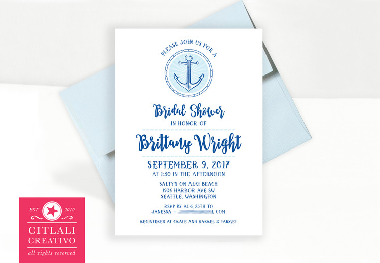 Anchor Burst Nautical Theme Bridal Shower Invitations