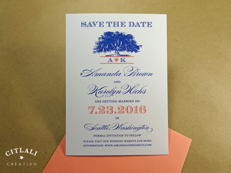 Spanish Moss Tree with heart monogram Save the Date card