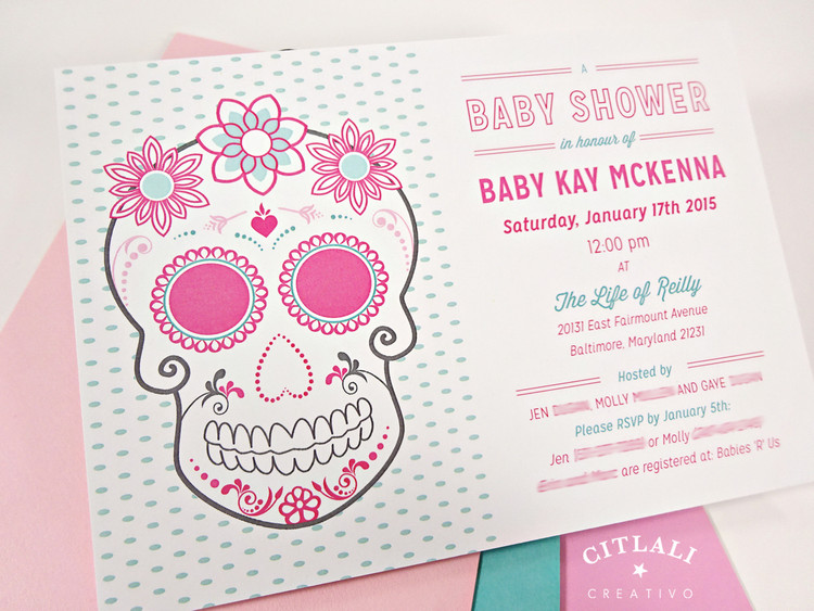 Floral Sugar Skull Baby Shower Invitation in pink & aqua