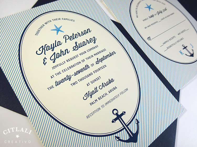 Striped Oval Starfish & Anchor Wedding Invitation in Navy & Caribbean Blue