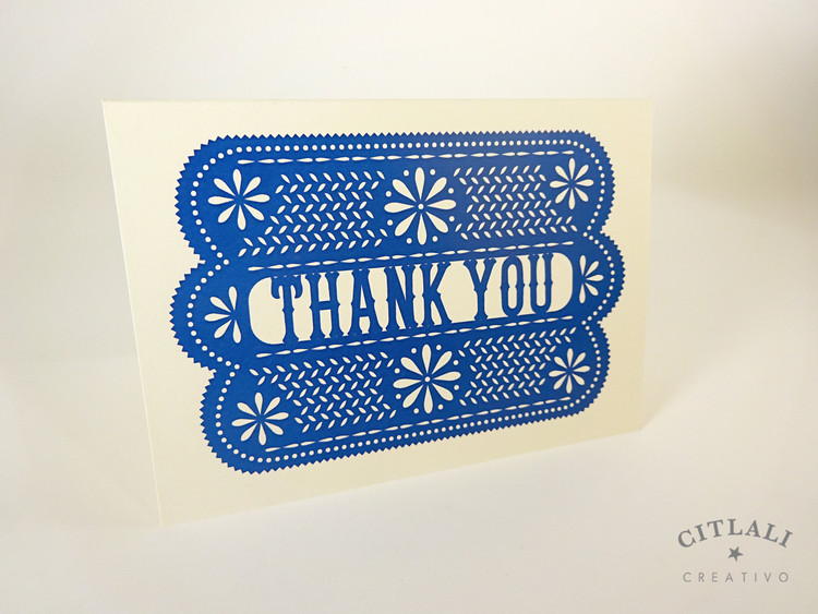 Papel Picado Gracias or Thank You Card Folded