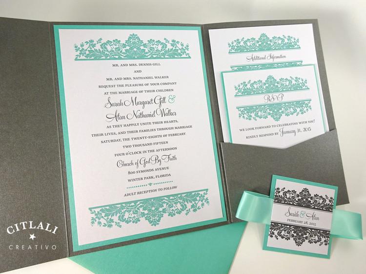 Aqua & Gray Elegant Floral Damask Wedding Invitation