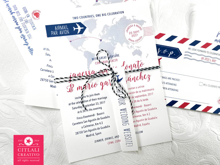 Travel Globe Journey Inspired Wedding Invitations