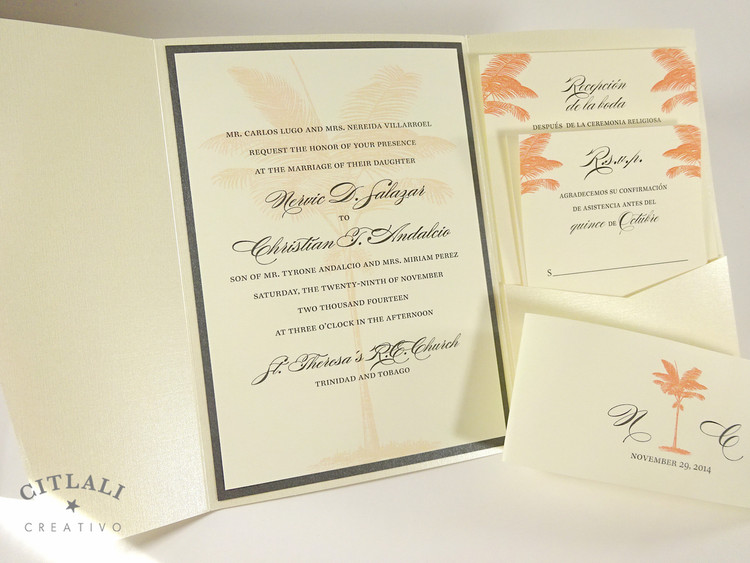Coral Palm Tree Silhouette Beach Wedding Invitations